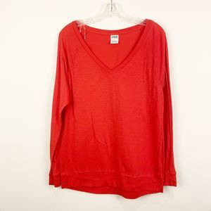 PINK Victoria Secret Red Long Sleeve Top